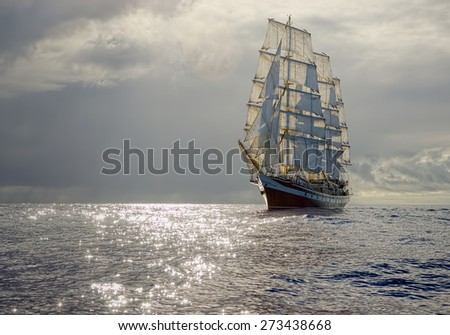 Sailing ship before the storm. Collection best yachts and ships