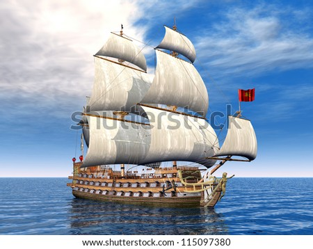 Sailing Ship Computer generated 3D illustration