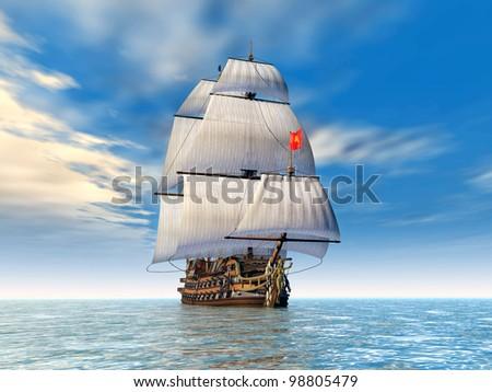 Sailing Ship Computer generated 3D illustration