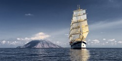 Sailing ship. Cruises and luxury.  Yachting. Sailing