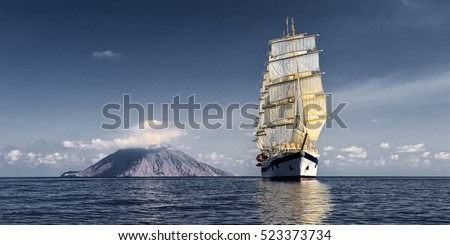 Sailing ship. Cruises and luxury.  Yachting. Sailing #523373734