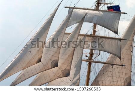 Sailing ship, detailed view of the sails #1507260533