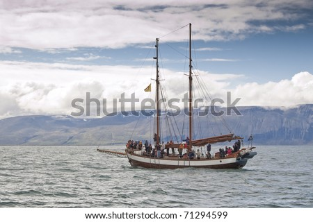 Sailing ship for whale watching. Picture taking in Skjalfandi Bay (Iceland)