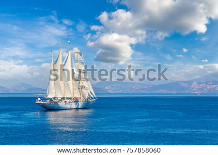 Sailing ship in a beautiful summer day #757858060