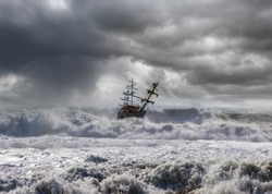 Sailing ship in storm sea on the foreground power sea wave
