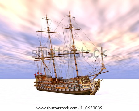 Sailing Ship in the eternal ice Computer generated 3D illustration