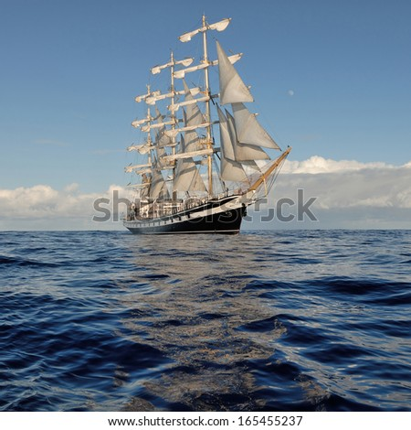 Sailing ship in the open ocean