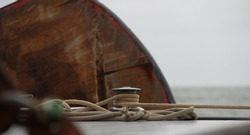 Sailing ship knob closeup