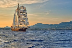 Sailing ship on a sea cruise. Yachting. Travel