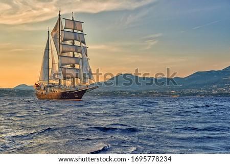 Sailing ship on a sea cruise. Yachting. Travel Stockfoto ©