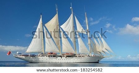 Sailing ship Panorama Collection of yachts and ships