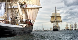 Sailing ship race. Tall Ships.Yachting and Sailing. Cruises. Luxury holidays