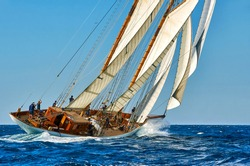 Sailing ship under the sails. Yachting