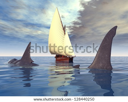 Sailing Ship with Giant Shark Computer generated 3D illustration