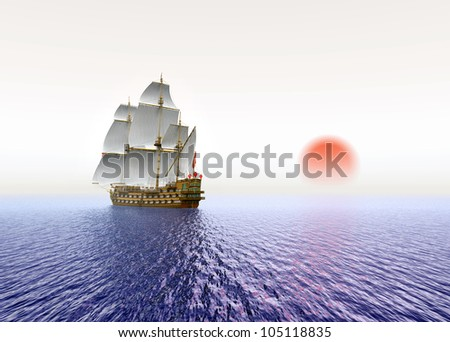 Sailing Ship with red Sun Computer generated 3D illustration