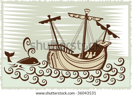 Sailing ship with whale along the side