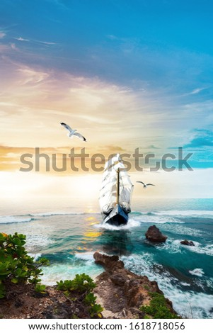 Sailing ship with white sails in the sea. Yachting. Cruise. Sailing