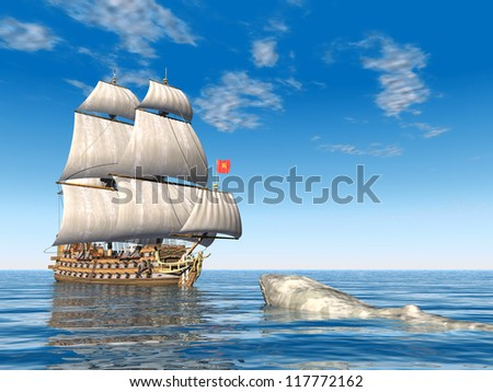 Sailing Ship with White Whale Computer generated 3D illustration