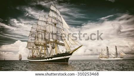 Sailing ships.  Toned image and blur. Retro style postcard. Sailing. Yachting. Travel #310253468