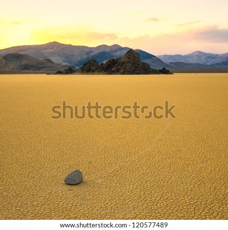Sailing stones in the Racetrack Playa, Death Valley, California