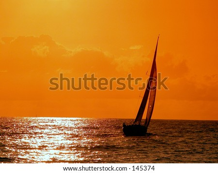 sailing to the sunset - stock photo
