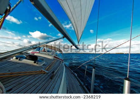 sailing under the blue sky