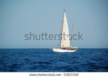Sailing yacht in Gulf of Saint-Tropez
