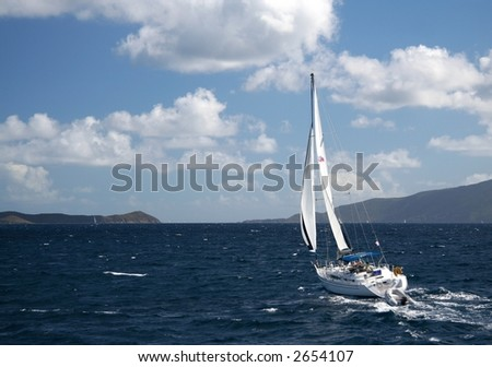 Sailing yacht in the caribbean sea