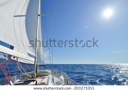 Sailing yacht on the race