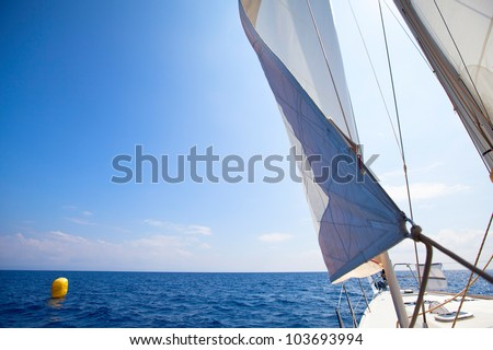 Sailing yacht race at the finish, picture with space for text or logos.
