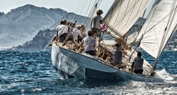 Sailing yacht race regatta. Sailboat in the sea under sail. Yachting sport