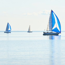 Sailing yacht regatta. Modern sailboats racing with blue spinnaker sails. Clear summer day. Kiel, Germany. Sport and recreation, transportation, private wessel, vacations