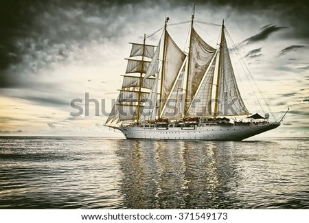 Sailing.  Yachting.  Sailing ship. Toned image and blur. Retro style postcard