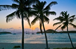 Sailing yachts, anchoring in the Tobago Keys, St.Vincent and Grenadines, West Indies,caribbean
