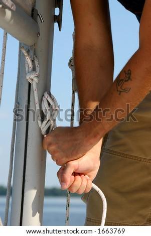 Sailor's hands - stock photo