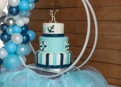 Sailor's theme Blue Birthday cake with balloon decoration.