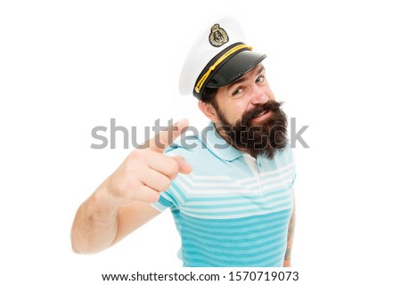 Sailor spirit born free. Bearded sailor isolated on white. Sailor or seaman point finger. Work as sailor. Professional mariner. Navy and marine. Sailing. The adventure begins. #1570719073