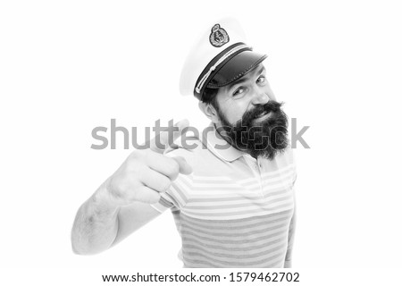 Sailor spirit born free. Bearded sailor isolated on white. Sailor or seaman point finger. Work as sailor. Professional mariner. Navy and marine. Sailing. The adventure begins. #1579462702