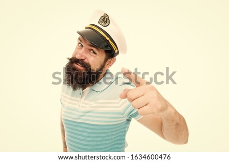 Sailor spirit born free. Bearded sailor isolated on white. Sailor or seaman point finger. Work as sailor. Professional mariner. Navy and marine. Sailing. The adventure begins.
