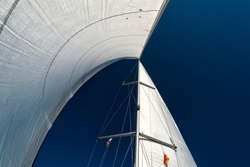 sails of a sailing yacht in the wind sailing on the ocean