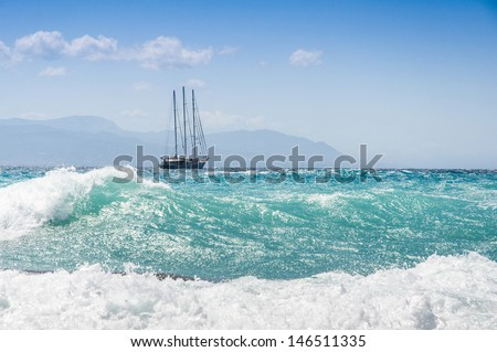 sailship in the storm on the sea