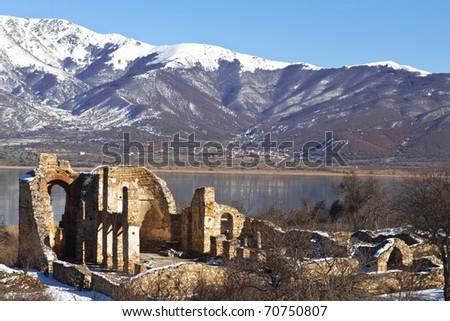Saint Achilleios old Byzantine church ruins at lake Prespa in Greece