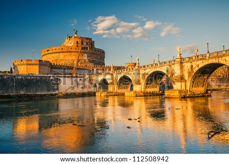 Saint Angel Fortress and bridge over the Tiber river in Rome, Italy