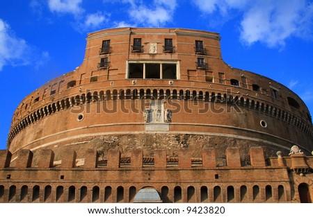 Saint Angelo Castle, Rome. Italy.Europe. Saint Angelo Castle against blue sky.