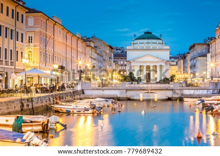 Saint Antonio Church at the end of Canal Grande, Trieste, Italy, Europe