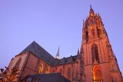 Saint Bartholomeus's Cathedral at dusk, Frankfurt, Hesse, Germany