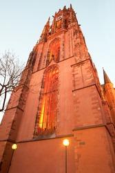 Saint Bartholomew Cathedral at dusk in Frankfurt, Hesse, Germany