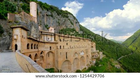 Saint Benedict's Monastery / Sacro Speco Sanctuary / Holy Cave Sanctuary - Subiaco - Italy - External daylight wide
