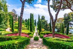 Saint Clotilde garden (Jardines de Santa Clotilde) landscape in Lloret del Mar, Spain