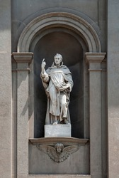 Saint Dominic Statue as Part of Santi Bartolomeo e Stefano Baroque Style Roman Catholic Church Exterior in Bergamo, Lombardy, Italy